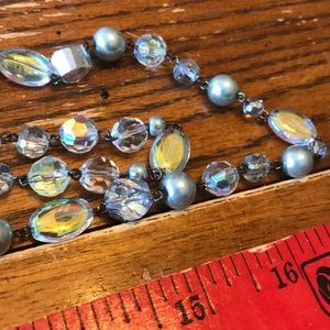Chico's long crystal pearl double bead necklace